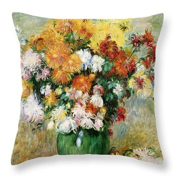 Bouquet Of Chrysanthemums Throw Pillow by Pierre Auguste Renoir