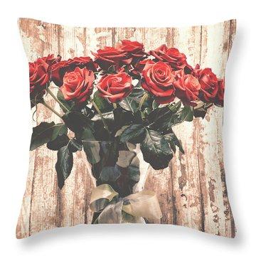 Bouquet Roses Throw Pillow by Wim Lanclus