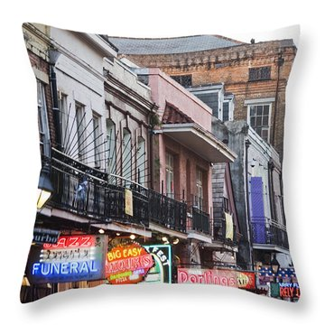 Bourbon Street At Dusk Throw Pillow by Taylor S. Kennedy