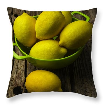 Bowl Of Lemons Throw Pillow by Garry Gay