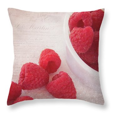 Bowl Of Red Raspberries Throw Pillow by Cindi Ressler