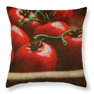 Bowl Of Tomatoes Throw Pillow by Toni Hopper