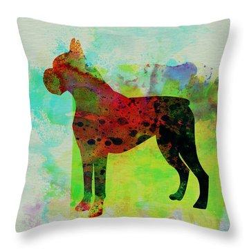 Boxer Watercolor Throw Pillow by Naxart Studio
