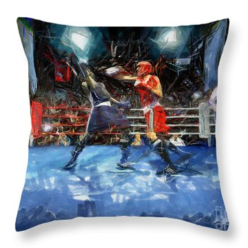 Boxing Night Throw Pillow by Murphy Elliott