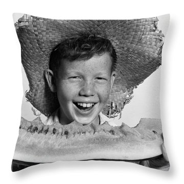 Boy Eating Watermelon, C.1940-50s Throw Pillow by H. Armstrong Roberts/ClassicStock