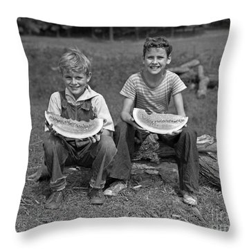Boys Eating Watermelons, C.1940s Throw Pillow by H. Armstrong Roberts/ClassicStock