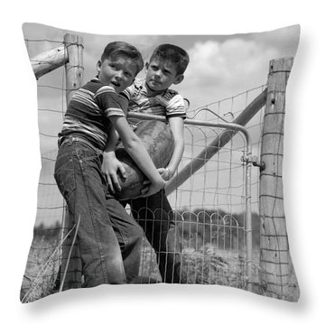 Boys Stealing A Watermelon, C.1950s Throw Pillow by H. Armstrong Roberts/ClassicStock