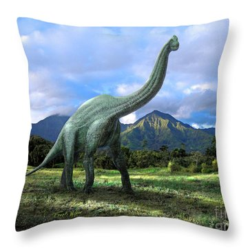 Brachiosaurus In Meadow Throw Pillow by Frank Wilson