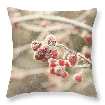 Branches With Early Winter Frost With Red Berries Throw Pillow by Sandra Cunningham