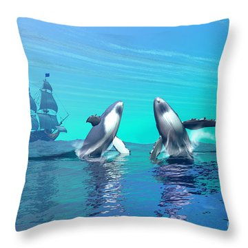 Breaching Throw Pillow by Corey Ford
