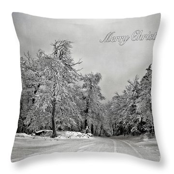 Break In The Storm Christmas Card Throw Pillow by Lois Bryan
