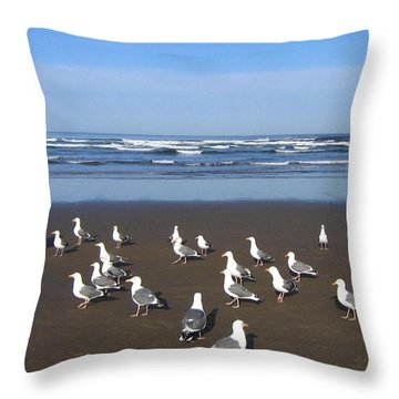 Breakfast At Cannon Beach Throw Pillow by Will Borden