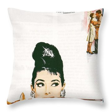 Breakfast At Tiffany's Throw Pillow by Georgia Fowler