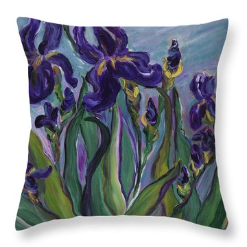 Breath Of Iris Throw Pillow by Bev Veals