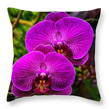 Bright Purple Orchids Throw Pillow by Garry Gay