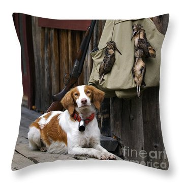 Brittany And Woodcock - D002308 Throw Pillow by Daniel Dempster