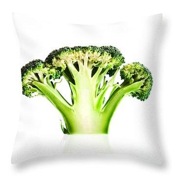 Broccoli Cutaway On White Throw Pillow by Johan Swanepoel