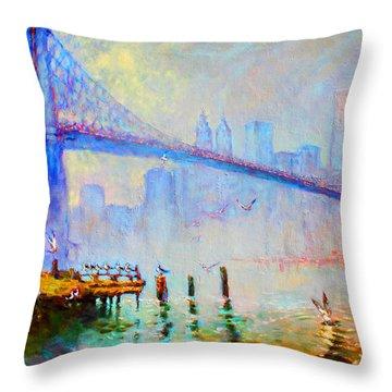 Brooklyn Bridge In A Foggy Morning Throw Pillow by Ylli Haruni