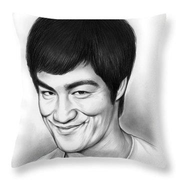 Bruce Lee Throw Pillow by Greg Joens