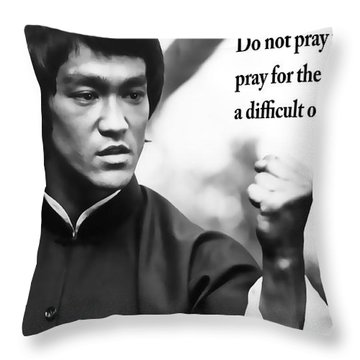 Bruce Lee On Enduring Life's Challenges Throw Pillow by Daniel Hagerman