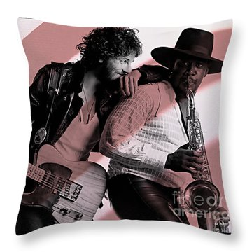 Bruce Springsteen Clarence Clemons Throw Pillow by Marvin Blaine