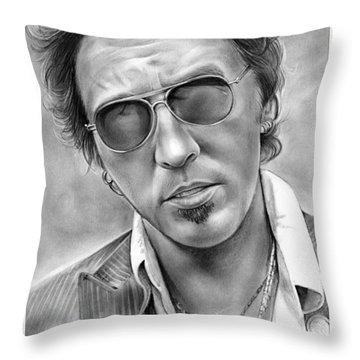 Bruce Springsteen Throw Pillow by Greg Joens