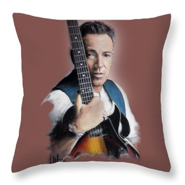 Bruce Springsteen Throw Pillow by Melanie D