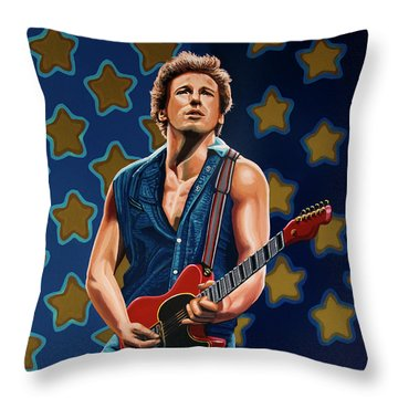Bruce Springsteen The Boss Painting Throw Pillow by Paul Meijering