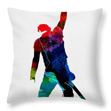 Bruce Watercolor Throw Pillow by Naxart Studio