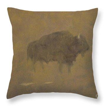 Buffalo In A Sandstorm Throw Pillow by Albert Bierstadt
