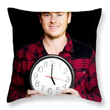 Builder With Clock Showing Home Time Throw Pillow by Jorgo Photography - Wall Art Gallery