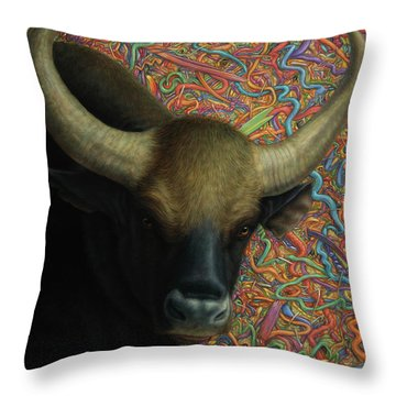 Bull In A Plastic Shop Throw Pillow by James W Johnson