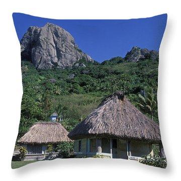 Bure Huts And Vatu Vula Peak Throw Pillow by Rich Reid