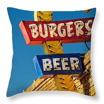 Burgers And Beer Throw Pillow by Charles Dobbs