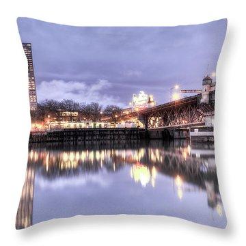 Burnside Bridge Waterfront Portland Oregon Throw Pillow by Dustin K Ryan