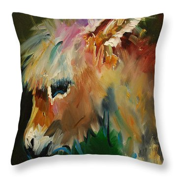 Burro Donkey Throw Pillow by Diane Whitehead