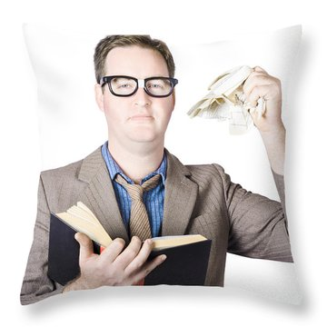 Businessman Tearing Pages From Book Throw Pillow by Jorgo Photography - Wall Art Gallery