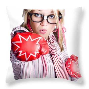 Businesswoman Training Throw Pillow by Jorgo Photography - Wall Art Gallery