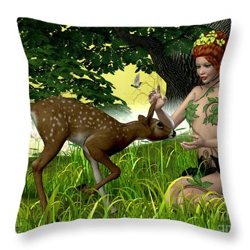Buttercup Fairy And Forest Friends Throw Pillow by Corey Ford
