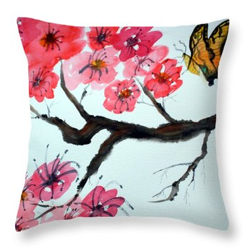 Butterfly And Blossoms Throw Pillow by Warren Thompson