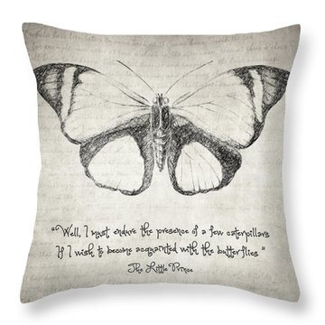 Butterfly Quote - The Little Prince Throw Pillow by Taylan Soyturk