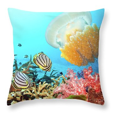 Butterflyfishes And Jellyfish Throw Pillow by MotHaiBaPhoto Prints