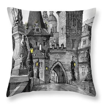 Bw Prague Charles Bridge 02 Throw Pillow by Yuriy  Shevchuk