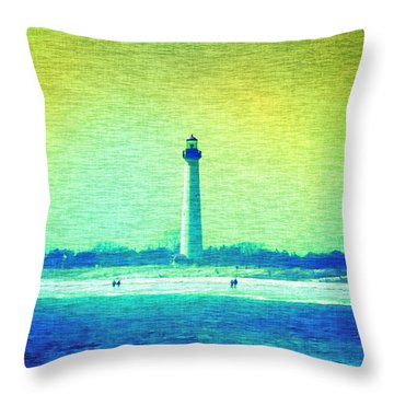 By The Sea - Cape May Lighthouse Throw Pillow by Bill Cannon