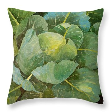 Cabbage Throw Pillow by Jennifer Abbot