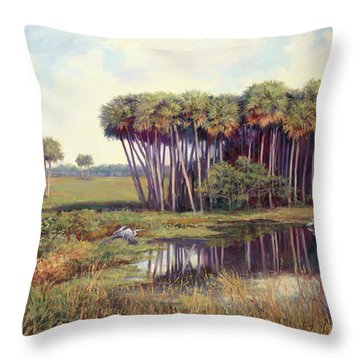 Cabbage Palm Hammock Throw Pillow by Laurie Hein