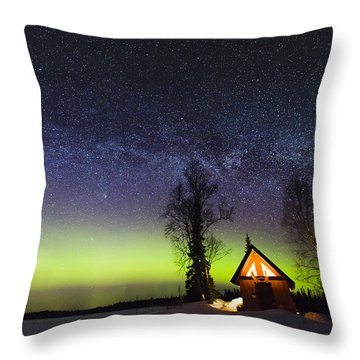 Cabins Glow Throw Pillow by Ed Boudreau