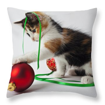 Calico Kitten And Christmas Ornaments Throw Pillow by Garry Gay