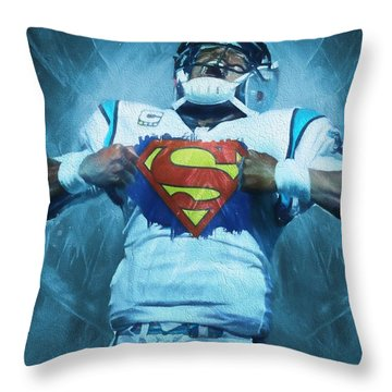 Cam Newton Superman Throw Pillow by Dan Sproul