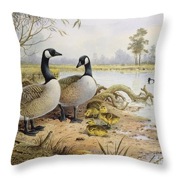 Canada Geese Throw Pillow by Carl Donner